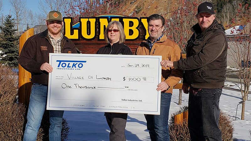 Tolko's Okanagan Woodlands & White Valley Division team up to support Village of Lumby beautification project
