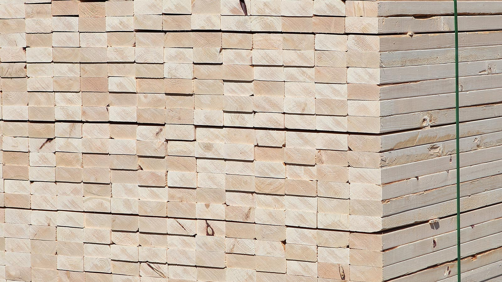 Tolko hemlock lumber stacked