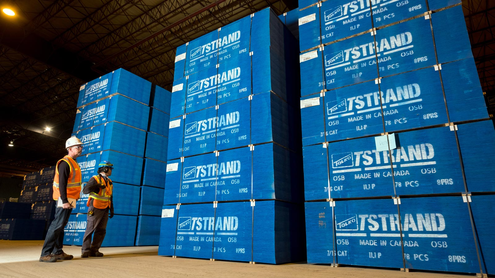 Tolko T-Strand OSB product stacked in warhouse