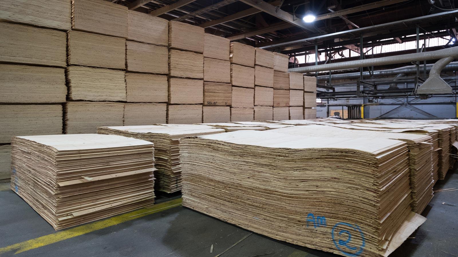 Tolko veneer product stacked at facility