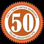 50 Year Limited Warranty orange emblem