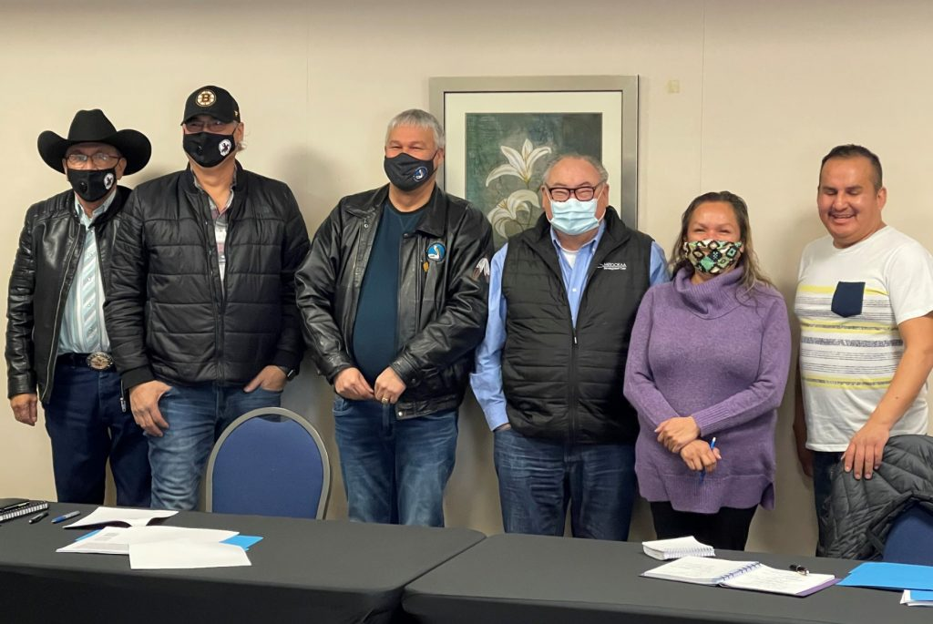 Senior leaders of Pelican Lake First Nation and Witchekan Lake First Nation